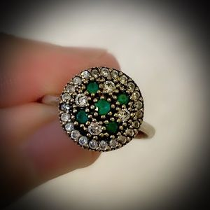 Emerald Cross Cluster Sterling Silver Ring 925 7.5